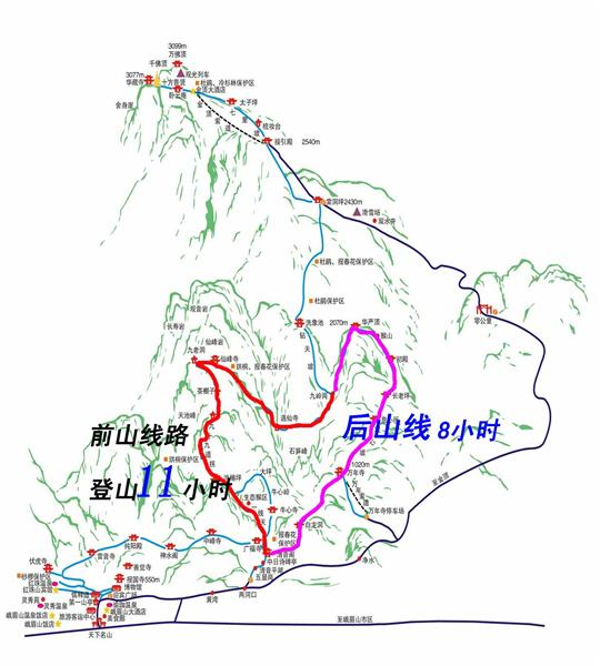 03峨眉山徒步旅游景点观赏路线图,景点分布图,三日游路线推荐